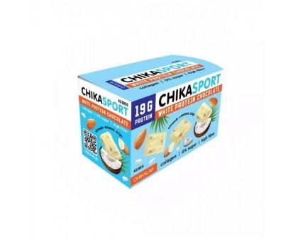 CHIKALAB Шоколад белый протеиновый с миндалем и кокосовыми чипсами 100 г