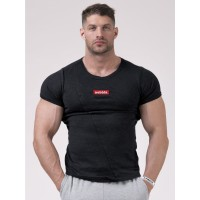 NEBBIA Футболка Red Label Muscle Back T-shirt черная