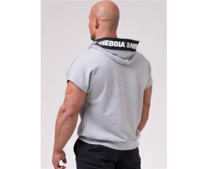 NEBBIA Футболка Reg top with hoodie серая