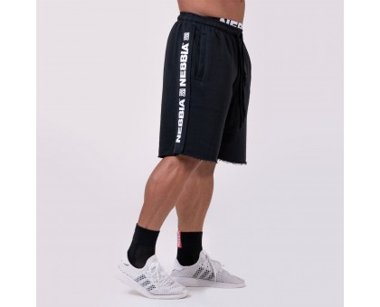 NEBBIA Шорты Shorts with lampas черные
